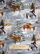 Christmas Fabric - Blessed Are They Church Horse Scenic Retired CP39255 - 18""