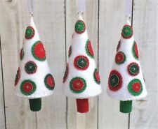 Christmas Ornament Felt Embroidery Kit Penny Rug Trees. Noel, Makes 3