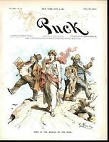 Democratic Party Middle Road Less Danger 1891 antique color lithograph print