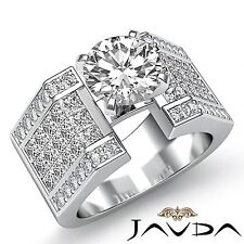 4.12ct Round Diamond Engagement Pave Invisible Set Ring GIA F SI1 14k White Gold