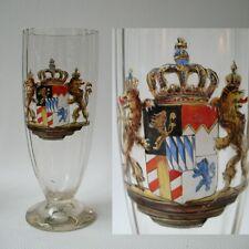 VERRE BIERE CRISTAL ANCIEN EMAIL HERALDIQUE ENAMEL GLASS BIER ANTIK BOHEMIAN