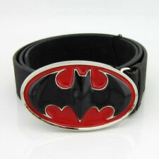 New Fashion Costume 3D Black Red Batman Superhero Mens Metal Belt Buckle Leather