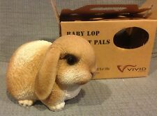 Vivid Arts Pet Pals Gold & White Baby Lop Bunny w/ Carrier FREE US SHIPPING