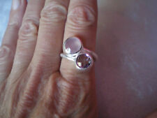 Chalcedony & Amethyst ring, 4.2 carats, size N/O, in 6.31 grams of 925 Sterling