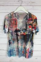 New One World Women's Short Sleeve Top Painting Blouse Multicolor Plus Size S