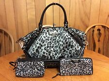 Coach Madison Ocelot OP Art Sophia Satchel D1176-17779 with matching accessories