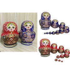 2 Set Hand Painted Wooden Russian Nesting Dolls Matryoshka Set Home Ornament