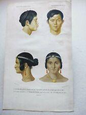 Gravure couleur 19° portrait :1°/2° 1  frère siamois...3°/4° femme de Calcutta