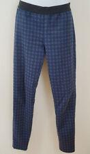 PINKO Púrpura Azul Marino Jacquard Cintura Elástica Pantalones Leggings Pantalones UK10; IT42