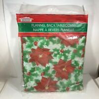 Christmas House Flannel Back Table Cloth Poinsettia and Holly