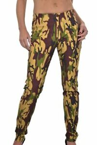 ICE Stretch Skinny Trousers Camouflage Print Tan Brown 6-18