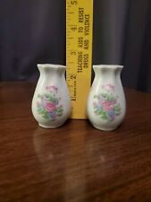 Vintage White Ceramic Salt and Pepper Shakers Flowers Made In China