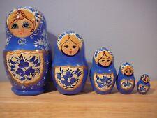 Set of 6 Russian nesting Dolls Blue & Gold Matryoshkas