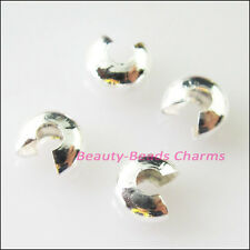 100Pcs Crimp Beads Covers 5mm Connectors Gold Dull Silver Bronze Plated