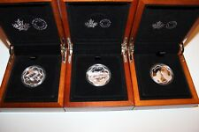 CANADA Master club pure silver coin set (3) 2015-16-17,w/wooden display cases.