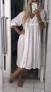 Tree Of Life Dress Midi White Rayon Flowy Fits 10-12 Elegant Hippy Boho