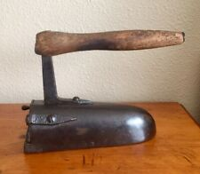Very Rare Antique Cast Iron Sad Iron with Wooden Handle