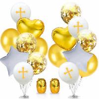 Happy Easter Cross Latex Foil Balloon Baptism Christening Communion House Decor