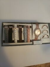 Time & Tru Women's Watch Box Set Changeable Bands And  Bezels Rose Gold Metal