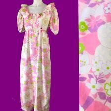 VTG. 60s Flower Power KAMEHAMEHA Hawaiian Boho FEsTiVal MAXI DRESS S/M