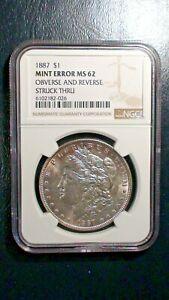 1887 P Morgan Silver Dollar NGC MS62 MINT ERROR $1 COIN Starts At 99 Cents!