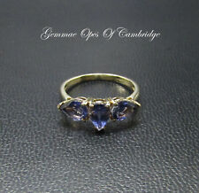 9K gold 9ct Gold Bengal Iolite Three Stone Ring Size N 2.13g with Certificate