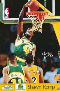 Shawn Kemp Sports Illustrated Poster Rookie Season Lakers Facsimile Autograph