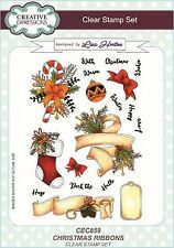 Creative Expressions A5 Clear Stamp Set Christmas Ribbons CEC859