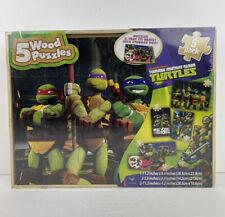 Nickelodeon Teenage Mutant Ninja Turtles 5 Wood Puzzles And Storage Wood Box New