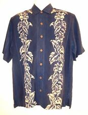 TOMMY BAHAMA MENS TROPICAL MEDIUM SHIRT SHORT SLEEVE BLUE w WHITE FLORAL XLNT!