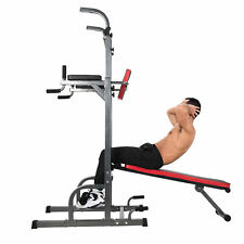 Power Tower Dip Station & Bench Bar Adjustable Pull Up Bar Station Home