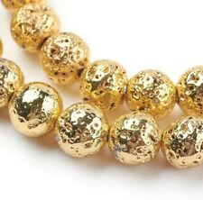 10 Gold Lava Beads 8mm Electoplated Stone Round Circle Bumpy Jewelry Supplies
