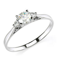 Solid 14K Solid White Gold Three Stone Engagement Promise Ring