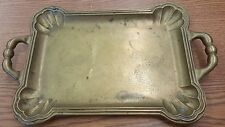 Vintage Solid Brass Serving Tray 2 Handle Rectangle Clam Corners