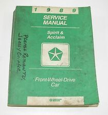 1989 Dodge Spirit Plymouth Acclaim Front Wheel Drive Car Service Manual USED CON