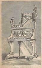 A1964 Arpa a tastiera in forma di organo - Incisione Antica del 1890 - Engraving