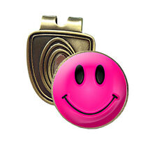 Pink Smiley Fusion Cap Clip and Magnetic Golf Ball Marker in Bronze by ASBRI