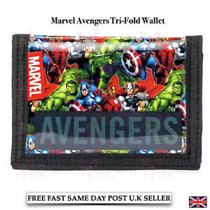 Kids Boys Girls Children's Marvel Avengers Tri-Fold Wallet Iron Man Hulk Thor