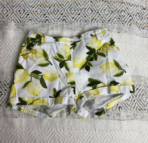 Tommy Hilfiger Yellow Lemon Print Cuffed Pocketed Shorts Baby Girl Size 12 M