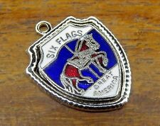 Vintage silver SIX FLAGS GREAT AMERICA CAROUSEL HORSE TRAVEL SHIELD charm #E3