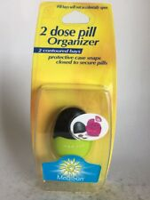 Med Sun 2 Dose Pill Organizer Protective Case Snap Closed to Secure Pills Yellow