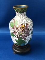 Very Small Cloisonne Metal Vase Flower Design Blue Inside Wooden Stand