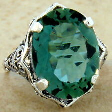 Antique Style 925 Sterling Silver 7 Carat Lab Green Amethyst Ring Size 5, #930