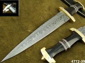 HANDMADE DAMASCUS STEEL KNIFE DOUBLE EDGE SWISS DAGGER HUNTING KNIFE 4772-39