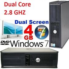 Fast DELL Dual core 2.80 GHz Windows 7 4gb Gaming pc desktop tower computer