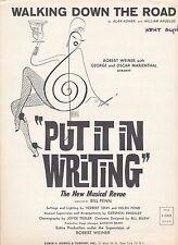 Walking Down The Road - Put It In Writing - 1962 Sheet Music