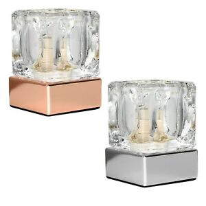 MiniSun Touch Table Lamp - Modern Chrome Copper Bedside Ice Cube Dimmer Light