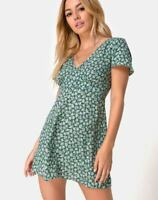 MOTEL ROCKS  Elara Dress in Floral Bloom Green M Medium (mr75)