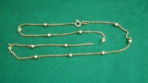 9CT 375 GOLD NECKLACE BALL & CHAIN 45CM LONG 4.3 GRAMS...REQUIRES LINK REPAIR