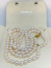 VINTAGE MIKIMOTO 8 MM 36 INCH 18 KT CULTURED AKOYA PEARL NECKLACE 42718-4